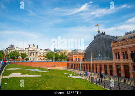 Puerta de Atocha Railway Station and Agriculture Ministry. Madrid, Spain. - Stock Photo