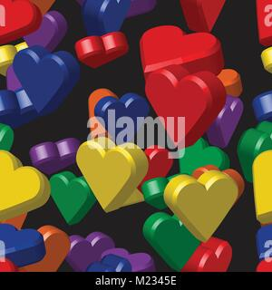 Rainbow Colors Hearts Seamless Pattern - Stock Photo