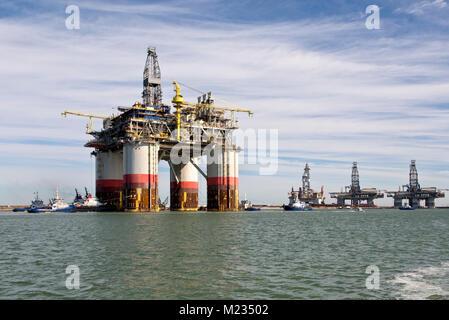 'Big Foot'  Chevron's Kiewit Offshore Deep Ocean Platform, oil & natural gas drill rig, Port Aransas. - Stock Photo