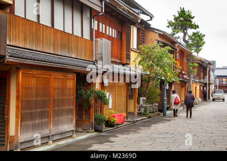 Nishi Chaya district streets, a traditional japanese style district with wooden houses in Kanazawa, Japan