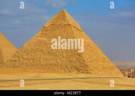 The Pyramid of Khafre (or Chephren) on the Giza Plateau, Cairo, Egypt - Stock Photo