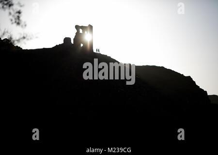 Edinburgh capital city of Scotland, Holyrood Park St Anthony's Chapel ruins at Arthur's Seat - Stock Photo