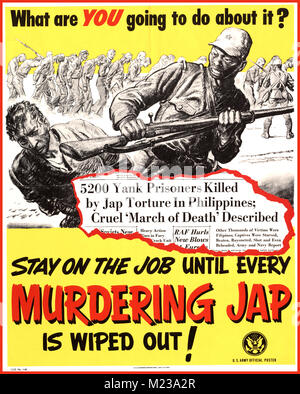 1944 American WW2 Propaganda Poster 'What are you going to do about it' STAY on the job until every murdering Jap - Stock Photo