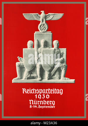 NUREMBERG RALLIES Propaganda Poster Third Reich NSDAP Nazi Party Week 1936 Original vintage Nazi poster promoting - Stock Photo