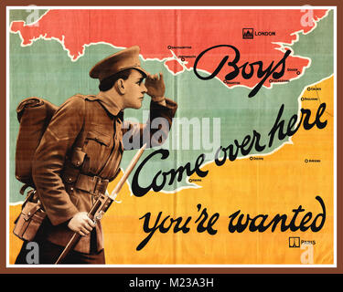 WW1 1900's Recruitment Propaganda Poster featuring a British soldier in full uniform in France come over you are - Stock Photo
