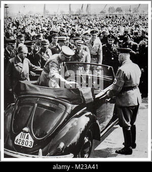 1930's ADOLF HITLER with DR. PORSCHE at the launch of 'the people's car' KDF VW Volkswagen Beetle prototype convertible - Stock Photo