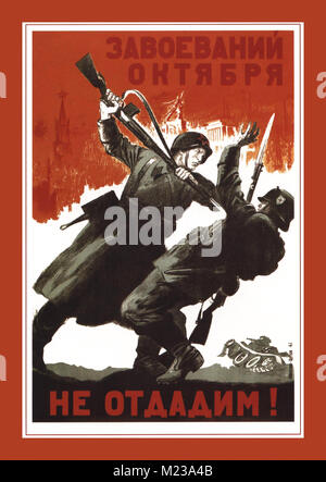 Vintage Russian propaganda recruitment poster for WW2. 'Be there.'  Produced in 1941,illustrating Soviet soldier - Stock Photo