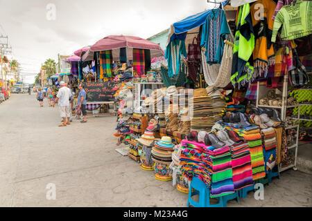 Street scene in Bucerias, Nayarit, Mexico. - Stock Photo
