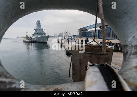CONSTANTA, Romania Feb 02. 2018. Standing NATO Maritime Group Two (SNMG2) flagship, HMS Duncan (F37) comes alonside - Stock Photo