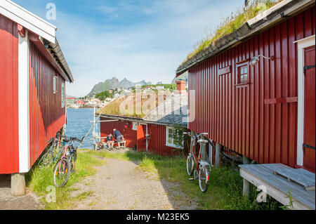 Typical rorbu cottages in Lofoten. These cottages have been traditional seasonal cottages used by fishermen in Lofoten. - Stock Photo