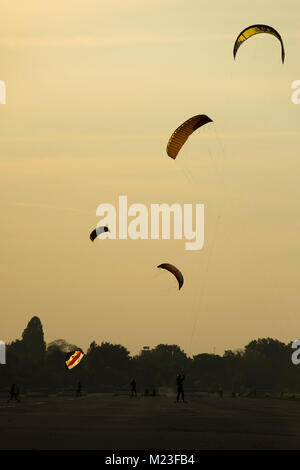 Kite landboarding at Tempelhofer Feld, Berlin 2017. - Stock Photo