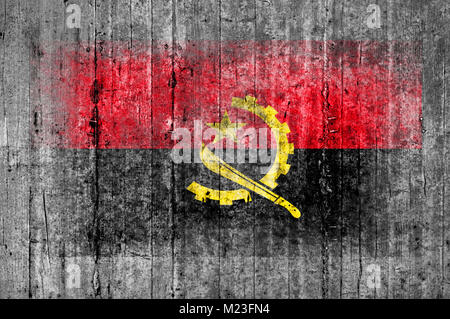 Angola flag painted on background texture gray concrete - Stock Photo