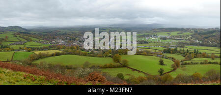 Builth Wells, the River Wye and Llanelweddd Royal Welsh Showground Panorama from Garth Trig Point - Stock Photo