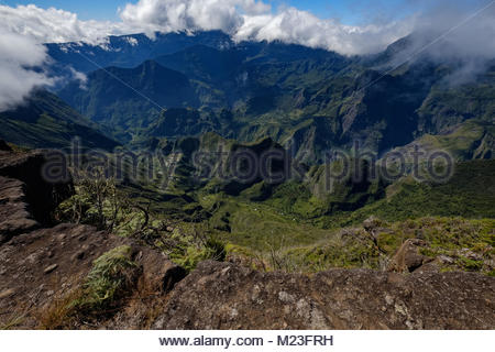 Ultra-wide angle view of the cirque of Mafate, la reunion island, a french overseas department - Stock Photo