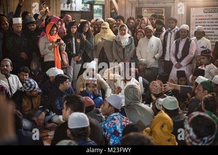 Quawwali at Nizamuddin Dargah, the Sufi saints mausoleum, Old Delhi, India - Stock Photo