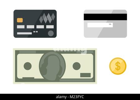Cards with dollars flat icons - Stock Photo