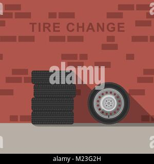 Garage interior with wheels and tire - Stock Photo