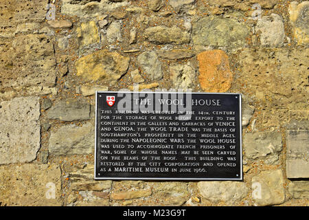 Plaque on the wall of The Wool House in Southampton. This historic building is currently occupied by the Dancing - Stock Photo
