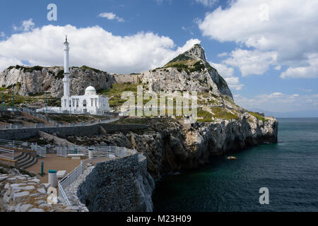 Gibraltar, The Ibrahim - al- Ibrahim Mosque on Europe Point. The southern tip of Europe. - Stock Photo