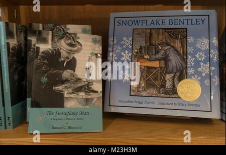 Snowflake Bentley Exhibit at the Jericho Historical Society VT - Stock Photo