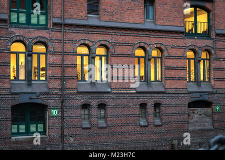 Detail of old Speicherstadt or warehouse in Hamburg, Germany - Stock Photo