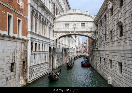Bridge of Sighs over Palace River, Venice, Italy - Stock Photo