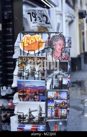 Iconic Picture Postcards of London for sale along Shaftesbury ave London,UK. - Stock Photo