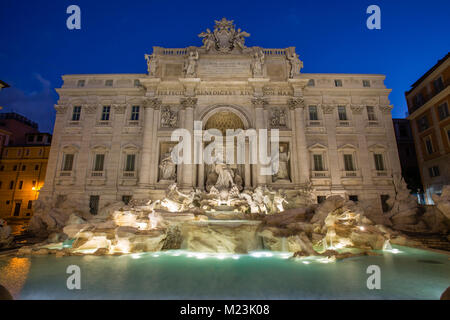 Trevi Fountain at twilight, Piazza di Trevi, Rome, Italy - Stock Photo