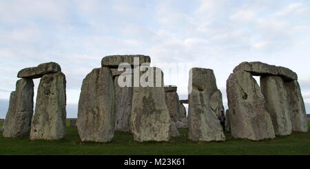 The Stonehenge stone circle in Wiltshire, England. The ancient monument dates from the Neolithic era, around 5,000 - Stock Photo