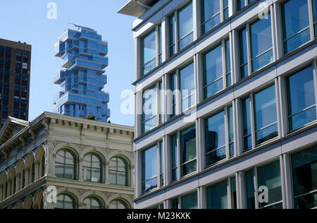 The view of 56 Leonard Street apartment tower from SoHo.Manhattan.New York City.USA - Stock Photo