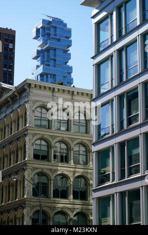 The view of 56 Leonard Street apartment tower from SoHo.Manhattan.New York City.USA - Stock Photo