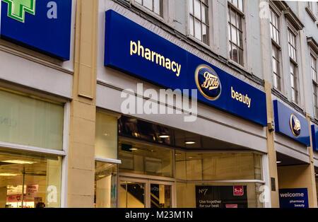 Boots chemist pharmacy shop on Cornmarket Street, Oxford, Oxfordshire, UK. Feb 2018 - Stock Photo