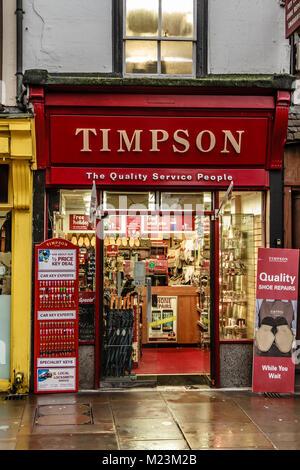 Timpson shoe repair and key cutting shop on Cornmarket Street, Oxford, Oxfordshire, UK. Feb 2018 - Stock Photo