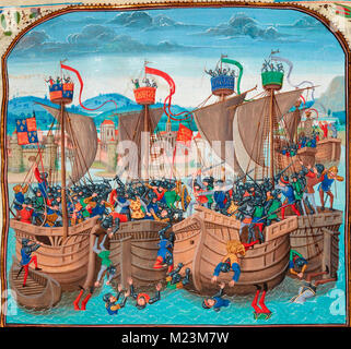 The Battle of Sluys, also called Battle of l'Ecluse, was a sea battle fought on 24 June 1340 as one of the opening - Stock Photo