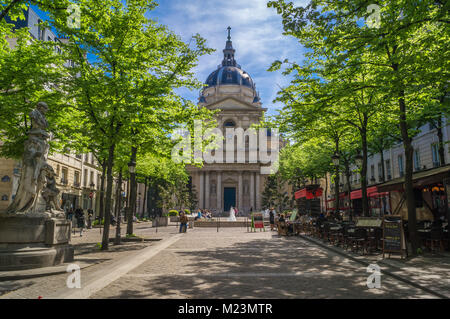 Sorbonne university main building and square in Paris in spring - Stock Photo