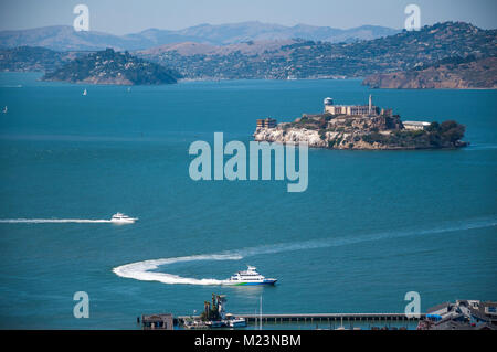 SAN FRANCISCO, CALIFORNIA - SEPTEMBER 9, 2015 - View of Pier 39 and Alcatraz Island from Coit Tower - Stock Photo