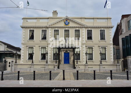 Mansion House with coat of arms of Lord Mayor of Dublin above building entrance in center of Dublin in Ireland. - Stock Photo