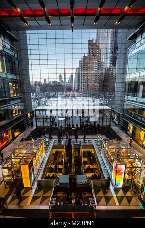 Columbus circle view from Time Center mall, New York - Stock Photo