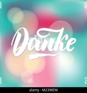 Thank you in German. Vector calligraphy. Danke poster or card. Grey Letters on colorful abstract Background. Hand - Stock Photo
