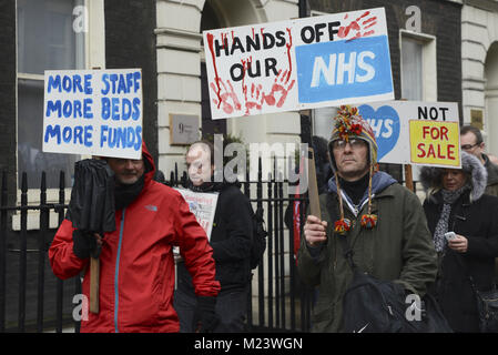 London, UK. 3rd Feb, 2018. Protesters seen participating while holding placards and posters during the demonstration.Thousands of demonstrators amassed in London on Saturday to garner support for higher NHS funding as the worst winter on record takes a toll on the healthcare system. The rally, entitled ''NHS in crisis - fix it now, '' was organised Health Campaigns Together and anti-austerity group the People's Assembly. Campaigners, including a large proportion of pensioners, called on the ruling Conservative government to bolster funding, as reports of patients being treat Credit: ZUMA Press