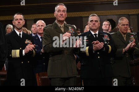 WASHINGTON, DC - JANUARY 30: Chief of Naval Operations Adm. John Richardson (L-R), Chairman of the Joint Chiefs - Stock Photo