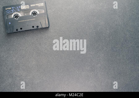 compact magnetic tape analog audio recording cassette - directly above view - Stock Photo