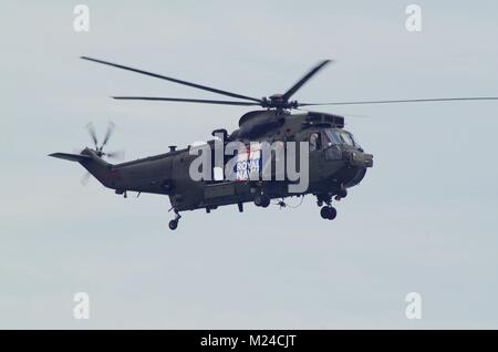 Royal Navy Sea King HC4 Commando Helicopter. Dawlish Air Show, South Devon, UK. - Stock Photo