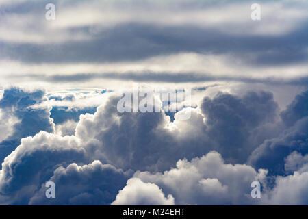 : tropical clouds, cumulonimbus cloud, from aircraft, , , - Stock Photo