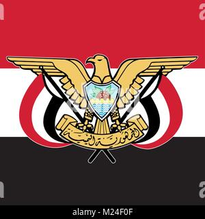 Yemen coat of arms and flag, official symbols of the nation - Stock Photo