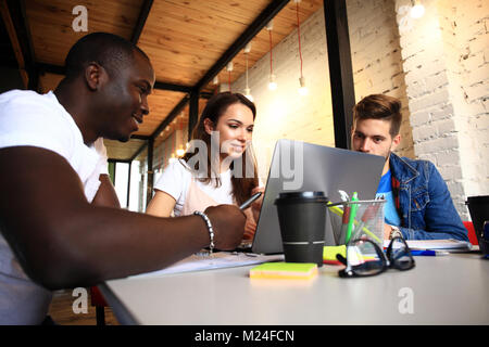 Startup Diversity Teamwork Brainstorming Meeting Concept.Business Team Coworkers Sharing World Economy Report Document - Stock Photo