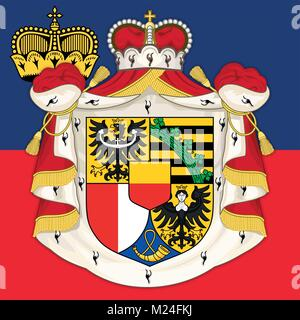 Liechtenstein coat of arms and flag, official symbols of the nation - Stock Photo