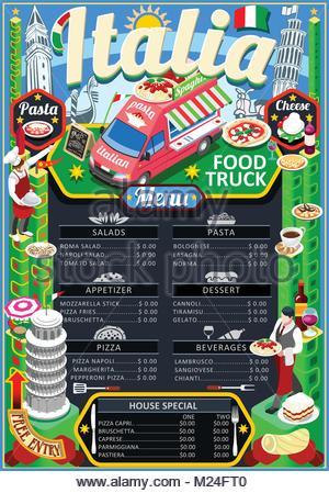 Fast Food Truck Festival Italian Pizza Or Pasta Menu Brochure Street Poster Design Vintage