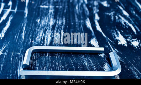 Hexagon for repair work lying on the table. Repair tools - Stock Photo