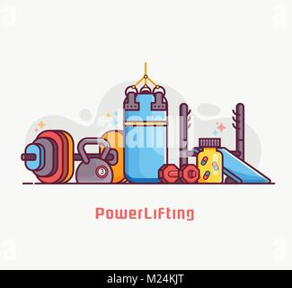Gym and Power Lifting Concept Banner - Stock Photo